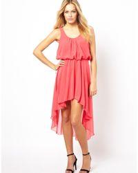 Love - Red Dip Hem Dress - Lyst