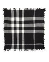 Burberry | Black Square Wool Check Scarf | Lyst