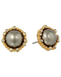 Alexis Bittar | Metallic Crystal Studded Post W/ Shell Pearl Cabochon | Lyst
