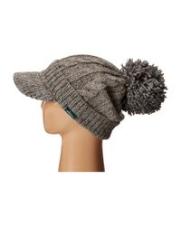 Woolrich - Gray Wool Blend Chunky Cable Knit Slouch Radar With Matching Pom - Lyst
