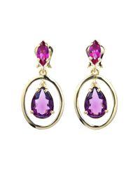 Oscar de la Renta | Purple Crystal Drop Earrings | Lyst