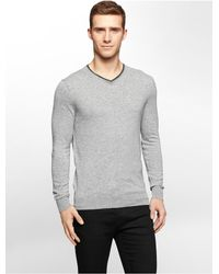 Calvin Klein | Gray Jeans Marble Heathered V-neck Sweater | Lyst