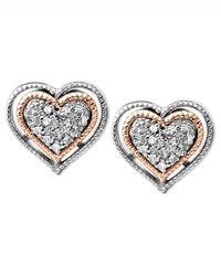 Macy's - Metallic Diamond Heart Stud Earrings In Sterling Silver And 14k Rose Gold (1/10 Ct. T.w.) - Lyst