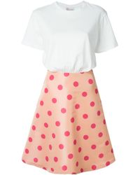 RED Valentino | White Combo Flared Dress | Lyst