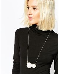 SELECTED | Metallic Karina Double Faux Pearl Necklace | Lyst