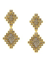 Vince Camuto | Metallic Gold Tone And Glitz Baguette Double Drop Earrings | Lyst