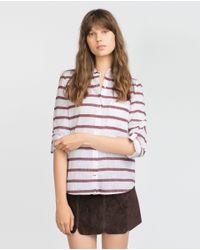 Zara | Natural Striped Shirt | Lyst