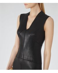 Reiss | Black Kimberly Leather V-Neck Dress | Lyst
