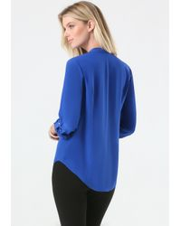 Bebe - Blue Silk Lace Front Top - Lyst