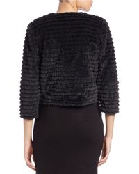 Calvin Klein | Black Cropped Faux-fur Jacket | Lyst
