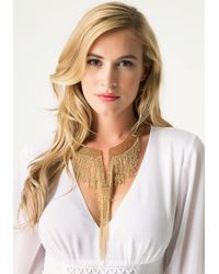 Bebe | Metallic Fringed Collar Necklace | Lyst