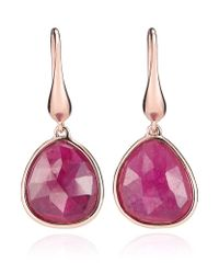 Monica Vinader | Pink Riva Precious Ruby Wire Earrings | Lyst