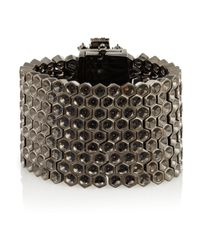 Mawi - Gray Hematiteplated Crystal and Bead Honeycomb Bracelet - Lyst