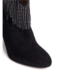 Aquazzura - Black 'tina Studs' Suede Fringe Ankle Boots - Lyst