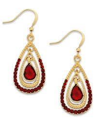 Style & Co. | Style&co. Gold-tone Red Stone Teardrop Earrings | Lyst