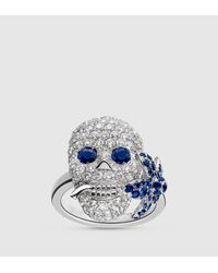 Gucci | Blue Flora Ring In White Gold, Diamonds And Sapphires | Lyst