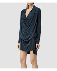 AllSaints | Blue Amei Long Sleeved Dress | Lyst