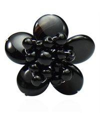 Aeravida | Handmade Black Onyx Flower Pearl Wrap Free Sz Ring | Lyst