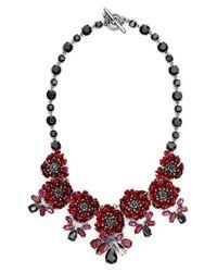 Marchesa | Red 'flower Drama' Collar Necklace | Lyst