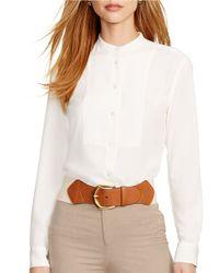 Lauren by Ralph Lauren | White Petite Crepe Shirt | Lyst