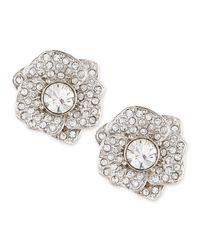 kate spade new york | Metallic Rose Garden Pave Crystal Stud Earrings Silver | Lyst