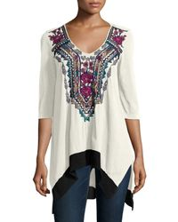 Johnny Was - Multicolor Colette Triangle Embroidered Tunic - Lyst