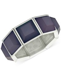 T Tahari | Silver-tone Blue Stone Stretch Bracelet | Lyst