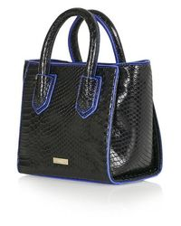 TOPSHOP - Black Croc Effect Mini Tote By Skinnydip - Lyst