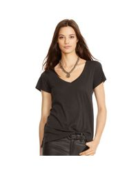 Polo Ralph Lauren | Black Cotton Jersey V-neck Tee | Lyst