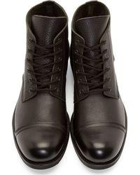 Yohji Yamamoto - Black Leather Cropped Combat Boots for Men - Lyst