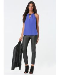 Bebe | Blue Jewel Accent Pleated Top | Lyst