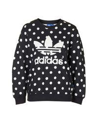 TOPSHOP - Black Polka Dot Trefoil Sweatshirt By Adidas Originals - Lyst