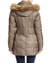 Betsey Johnson - Brown Faux Fur-trimmed Puffer Coat - Lyst