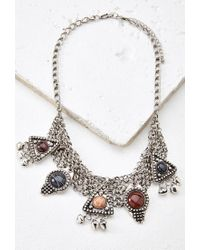 Forever 21 | Metallic Etched Faux Stone Statement Necklace | Lyst
