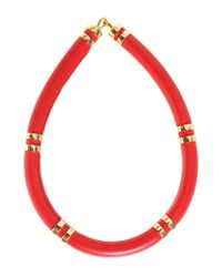 Lizzie Fortunato - Red Leather Tube Necklace - Lyst