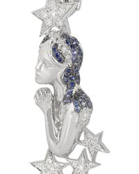 Lydia Courteille - Moon And Star 18-Karat White Gold, Moonstone, Diamond And Sapphire Earrings - Lyst