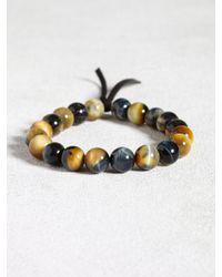John Varvatos | Brown Natural Tigers Eye Bracelet With Leather Detail for Men | Lyst