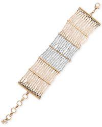 Lucky Brand - Metallic Gold-tone Seed Bead Bracelet - Lyst