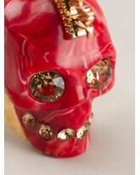 Alexander McQueen - Red Mohican Skull Cocktail Ring - Lyst