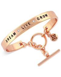 "BCBGeneration | Metallic Rose Gold-tone ""dream Live Grow"" Bracelet 