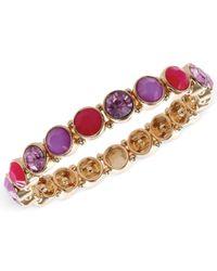 Nine West - Gold-Tone Purple Stone Stretch Bracelet - Lyst