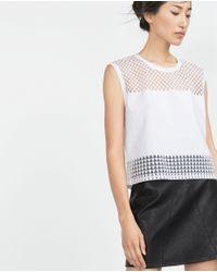 Zara | White Devoré T-shirt | Lyst
