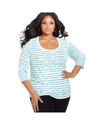 American Rag | Blue Plus Size Threequartersleeve Striped Top | Lyst