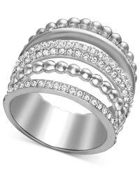 Swarovski - Metallic Spiral Rhodium-plated Crystal Ring - Lyst