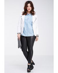 Forever 21 - Blue Plus Size Polka Dot Chambray Shirt - Lyst