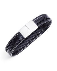 Jan Leslie - Black Braided Vegetable-Dyed Flat Leather Bracelet for Men - Lyst