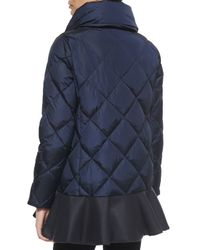 Moncler - Blue Vouglans Flounce-hem Puffer Coat - Lyst
