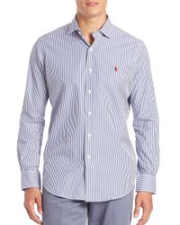 Polo Ralph Lauren | Blue Striped Sportshirt for Men | Lyst