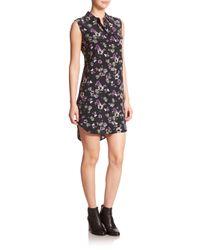 Equipment - Black Signature Silk Floral-print Dress - Lyst