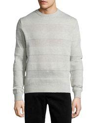 AMI - Gray Intarsia Striped Crewneck Sweater for Men - Lyst